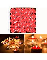 Gearmax® 50-talet värmeljus set romantiskt bröllop hjärta ljus (röd)