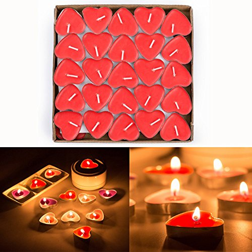 Gearmax 50 Pcs Love Heart Shape Tealights Love Candles Bulk Floating Smokeless Scented Romantic Candles Valentines Mothers Day Christmas Wedding Birthday Party Decoration (Red)