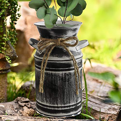 Fovasen Verzinkte Milchkanne im Shabby-Chic-Stil, rustikale Bauernhaus-Vase, Metallkännchen mit Griff, für Zuhause,...