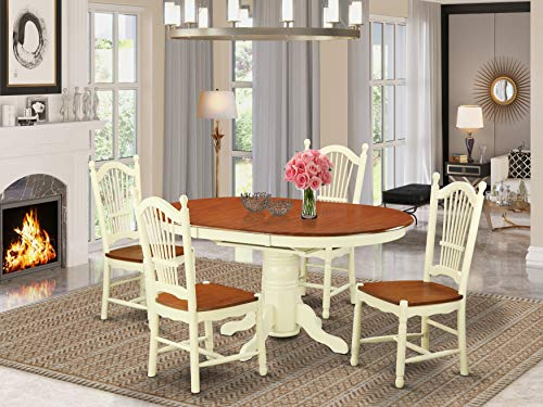 East West Furniture AVDO5-WHI-W dining table set 4 Wonderful Wooden dining room chairs - A Lovely dining table- cherry Color Wooden Seat cherry and buttermilk Butterfly Leaf wood dining table