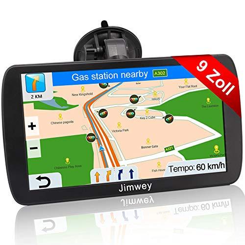 Jimwey Navigationsgerät für LKW Auto Navigation GPS Navi Navigationssystem 9 Zoll 16GB Lebenslang Kostenloses Kartenupdate mit Blitzerwarnung POI Sprachführung Fahrspur 2020 Europa UK 52 Karte