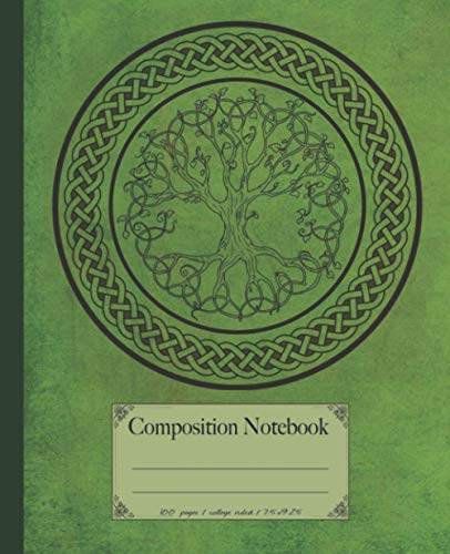 Composition Notebook: St Patricks Day Celtic tree composition notebook. 100 page notebook college ruled. Vintage style Celtic journal gift idea.