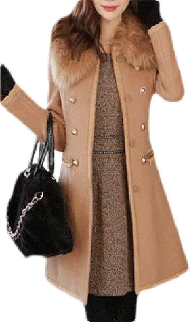 Womens Collar Fur Faux Breasted Double Woolen Winter Pea Coat Jacket