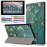EpicGadget Case for Amazon Fire HD 10 Inch Tablet (9th/7th Generation, 2019/2017 Released) - Lightweight Tri-fold Stand Auto Wake/Sleep Folio Cover Case + 1 Screen Protector and 1 Stylus (Blossom)