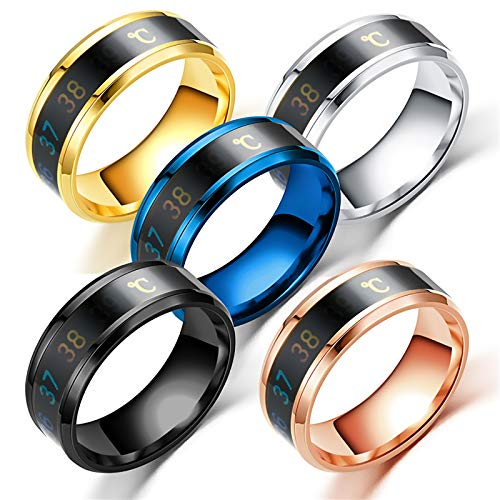 LONG-D 2 Pieces Ring Smart Measurement Temperature Ring Stainless Steel Couple Mood Rings Creative Jewelry Gift for Men Women Ring,gold,12=22mm