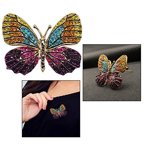 OFKPO Schmetterling Broschen Pin,Bunte Strass Broschen für Frauen Kleidung Zubehör