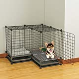 Jaula de perro Las jaulas for perros Perros de la Pequeña y Mediana Con Interior WC independiente.Cerca del perro de animal doméstico de la perrera [dentro de 15 Kg, 75 * 75 * 58-L] de bano, con alfom