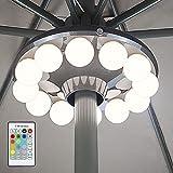HONWELL Patio Ombrello Luce a Batteria, Luci per ombrellone da esterno con telecomando, 200 Lumen Lampada da Campeggio per ombrellone, tende da campeggio, lampadine bianche