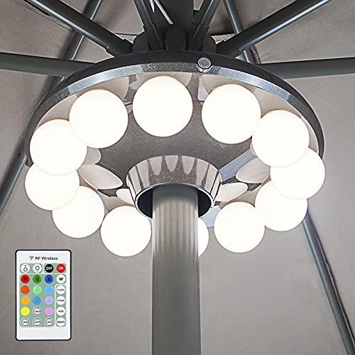 HONWELL Luz para sombrilla de patio, 12 bombillas LED de plástico para sombrilla, Luz de patio al aire libre que funciona con pilas con temporizador, control remoto para sombrilla, tiendas