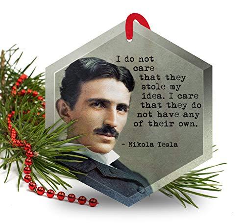Nikola Tesla - Famous Scientists Glass Christmas Ornament