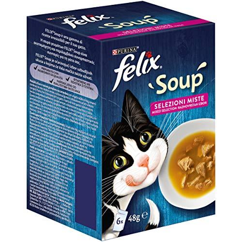 PURINA FELIX Soup Gatto Selezioni Miste con Manzo, con Pollo, con Tonno - 48 buste da 48g ciascuna (8 confezioni da 6x48g)