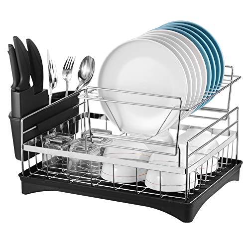 Alvorog Rejilla para platos de metal cromado doble, Rejilla para platos Bandeja de microfibra incluida Organizador de cocina totalmente personalizable con portavasos extraíble para escurridor y cubiertos