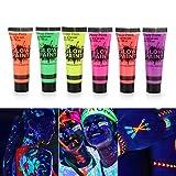 Fesjoy Pintura Resplandor, 6 Tubos 10ml / 0.34oz Art Body Paint Glow en luz UV Pintura Facial y Corporal con 6 Colores Glow Blacklight Neon Fluorescente para Fiesta Clubbing Festival Maquillaje de