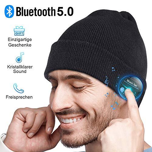 HANPURE Bluetooth muts, mannengeschenk, muts heren, Bluetooth 5.0 hoofdtelefoon muts, microfoon voor handsfree, muziek, hardlopen, skiën, elektronische cadeaus voor mannen en vrouwen