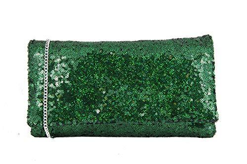 LONI  Sparkly Sequin-Emerald Green, Damen Clutch Grün smaragdgrün m