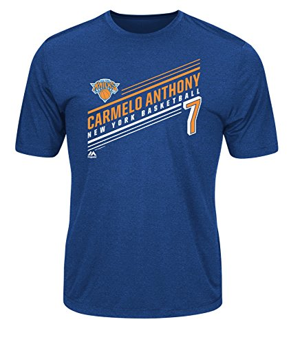 Majestic NBA New York Knicks Men's Athletics Advance Stats Player Name Short Sleeve Crew Neck Synthetic T-Shirt, Small, Blue Heather