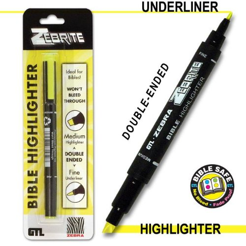 Zebrite Double Ended Highlighter - Yellow Carded
