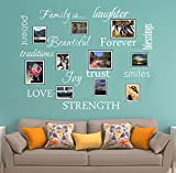 LUCKKYY Family Wall Decal~ Set of 12 Family Words Quote Vinyl Family Wall Decal Family Room Art Decoration Living Room Decor Decoration for Home Decor (White)