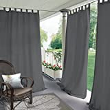 """Blackout Outdoor Curtain Tab Top Grey 120"""" W x 84"""" L for Front"""