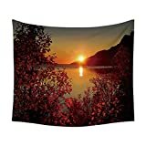 YYRAIN Riverside Sonnenuntergang Wandteppich Multifunktionale Dekoration Hintergr& Stoff Bettwäsche Tagesdecke Strandtuch 35.43x27.55 Inch{90x70cm} A