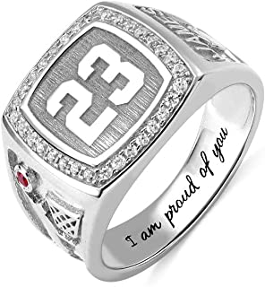 AILIN 925 Sterling Silver Engraved Sports Baseball Signet Ring with Birthstone Number or Intials Engraved Rings