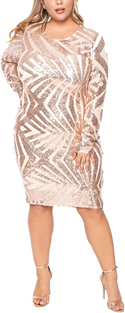 IyMoo Sequin Bodycon Dress Sexy Plus Size Dress Long Sleeve Party Dress Club Outfits See Through Mini Dress