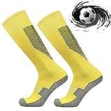 Sunshine smile Jugendliche Socken Fußball Strümpfe,trainingssocken fußball,nielänge Sportsocken,Fußballsocken Stutzen Kinder,rutschfeste Fußball Socken (Gelb)