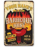 Personalized Metal Sign - BBQ Joint Metal Sign - Durable Metal Sign - 8' x 12' or 12' x 18' Use Indoor/Outdoor - Great Grill and Barbeque Restaurant Decor and Gift Under $25