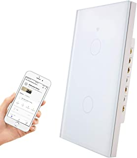 Smartyuns Wifi Smart Wall Light Switch,Tempered Glass Panel Touch Light Switch 2 Gang Switch for 1 Gang Wall Box, Timer Function,Wireless Lighting Control (2 Gang Light Switch White)
