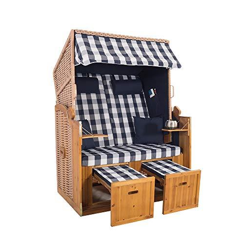 2-Sitzer Natur Ostseestrandkorb Hörnum - Strandkorb Volllieger mit ausziehbaren Fußablagen – inkl. Nackenkissen und Kuschelkissen Set (Kariert, Blau)