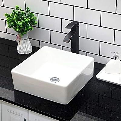 "Vessel Sink Topmount - Kichae 15""x15"" Bathroom Vessel Sink Rectangle Above Counter White Porcelain Ceramic Vessel Vanity Sink Art Basin"
