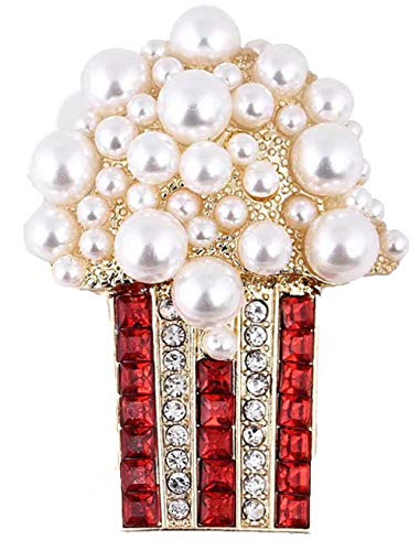 Absolutely Gorgeous Movie Popcorn Brooch. Various Size Pearl Popcorn with Red & Clear Crystal Striped Bucket.Perfect for a Film Buff,Theater Manager, or Popcorn Aficionado