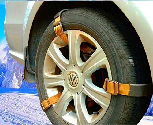 Newest Easy Snow Tire Chains Heavy Duty for Truck Pickup SUV Car Van ATV Jeep Honda Toyota Nissan VW Ford Mercede Benz BMW Tyre, Universal Fit Metal Steel Traction Anti-Skid