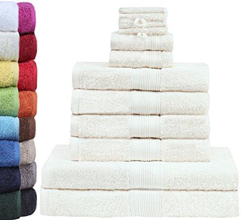 GREEN MARK Textilien 10 TLG. FROTTIER Handtuch-Set mit verschiedenen Größen 4X Handtücher, 2X Duschtücher, 2X Gästetücher, 2X Waschhandschuhe | Farbe: Creme/Natur | Premium Qualität