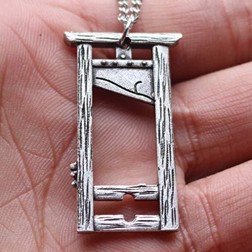 SummarLee 1 Guillotine Anhänger Gezeiten Mann Bilderrahmen Schmuck Halskette Schmuck Guillotine Halskette Zubehör Männer und Frauen,Silber