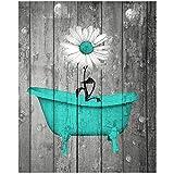 Pintura de la lona Arte floral de la pared de la vendimia Carteles e impresiones rústicos de la margarita Cuadro de la flor Casa de campo Baño Decoración del hogar 40x50cm (15.7 'x19.7') Sin marco