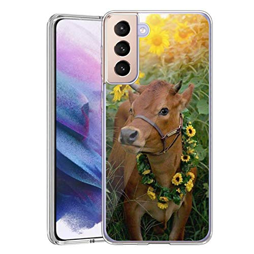 Compatible with Samsung Galaxy S21 5G Case,Clear Cases with Cow Pattern Design for Women and Men,Slim Shockproof Flexible TPU and Silicone Cover Case for Samsung Galaxy S21 5G