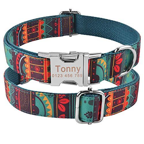Collar de Perro Personalizado Etiqueta de identificación con Nombre Grabado Personalizado Cachorro Mediano Grande Unisex Collar de Perros Productos de Nailon Ajustable Collares de Perro-C_L