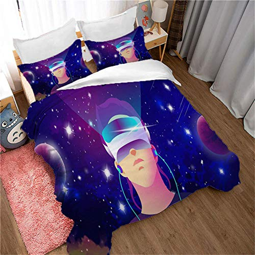 Duvet Cover Set 3 Piece,3D printing Duvet Set Bedding Set for 135 * 200cm Single Bed with 2 Pillowcases.Adult and child's style: VR world. Virtual Reality