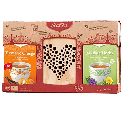 Yogi Tea, Bee Hotel and Tea Gift Set, Limited Edition, Organic Herbal Tea, Alkaline Herbs and Turmeric Orange, Better Gift for Tea Lovers