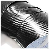 Finest Folia (4,60€/m²) Lámina 3D de Carbono Negro para Coche Carwrapping Frustrar el vehículo Libre de Burbujas película Autoadhesiva (200 x 152 cm)