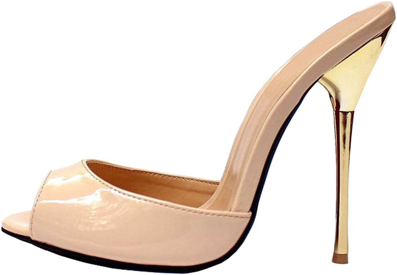 MAIERNISI JESSI Unisex Men's Women's Peep Toe Open Back Stiletto High Heel Slide Sandals