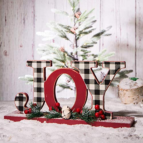 Glitzhome Joy Christmas Centerpiece Table Decorations 11.42 Inches Wooden Joy Decorative Display Sign on Table or Fireplace Christmas Table Decor Rustic Xmas Desk Decoration for Home and Kitchen