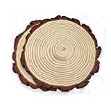 Unfinished Natural Wood Slices 2 Pcs 9-9.5inch Wooden Circles with Tree Bark Log Discs for DIY Craft Rustic Table Centerpieces Wedding Ornaments
