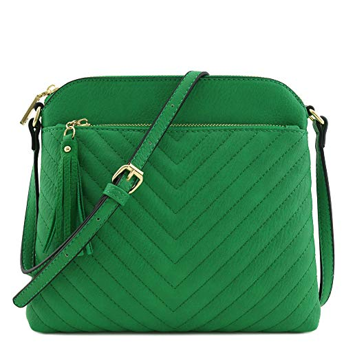 Chevron Quilted Medium Crossbody Bag with Tassel Accent (Kelly Green)