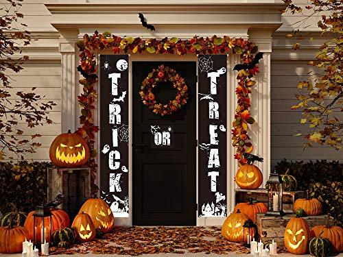 Sayala Decoraciones para Puertas de Halloween,3Piezas Trick Or Treat Banner De Porche para Exteriores &Interior Decoraciones de Halloween