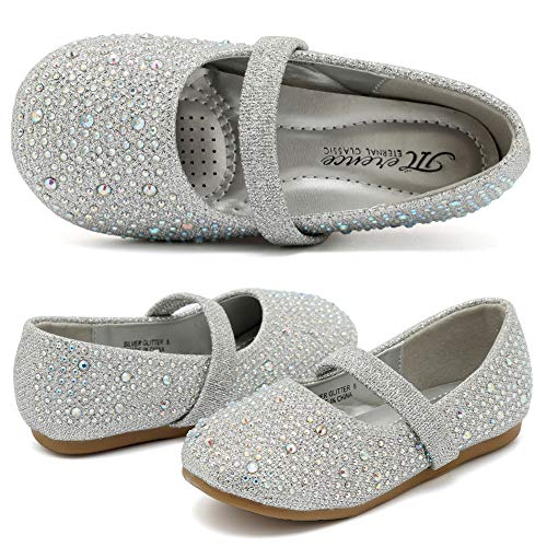 CIOR Toddler Girls Ballet Flats Shoes Ballerina Bowknot Jane Mary Wedding Party Princess Dress,VGZA2,Shine-Silver Glitter,24