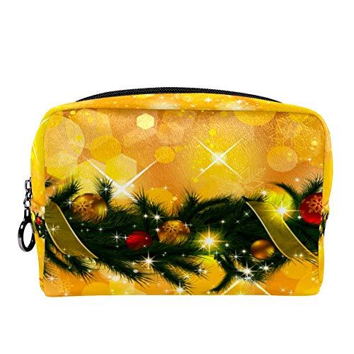 TIZORAX vrolijke kerst slinger gouden make-up tas toilettas voor vrouwen huidverzorging cosmetische handige zak rits handtas