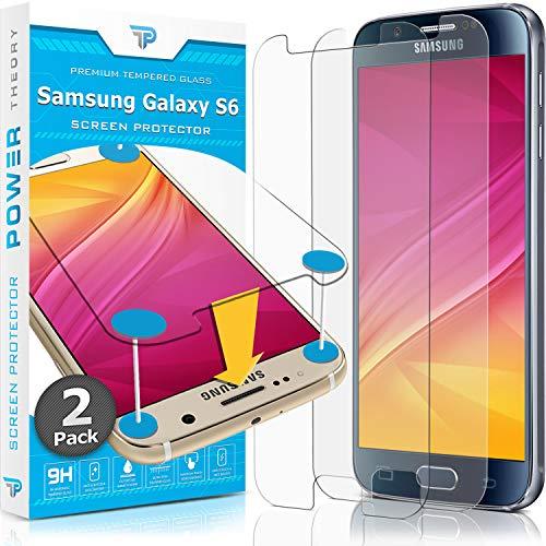 Power Theory Panzerglasfolie passend für Samsung Galaxy S6 (2 Stück) - 9H Panzerglas Folie, HD Displayschutzfolie/Panzerfolie, Tempered Glas Schutzglas, Schutzfolie Screen Protector Glass