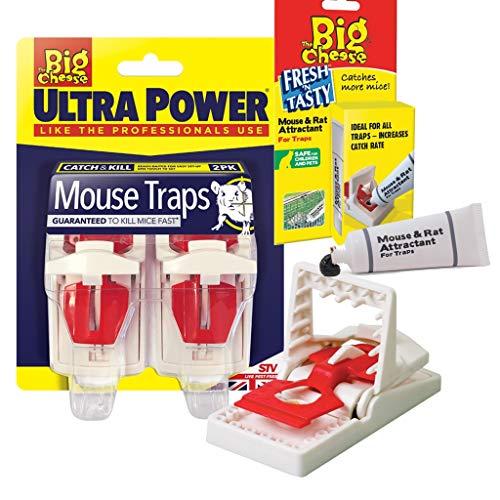 Bricoloco Pack 2 Trampas para Ratones Ultra Power con Cebo - Paquete Doble con Tubo Cebo atrayente para Ratones y Ratas Fresh 'N Tasty. Sin venenos y Adecuado para su Uso con niños y Mascotas